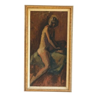 Original Oil Painting by Stanley Sadkin Sitting Nude For Sale