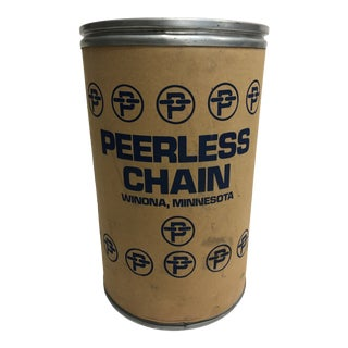 Vintage Industrial Shipping Barrel - Peerless Chain Advertising For Sale