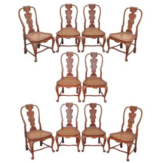 Chinoiserie Red Lacquer Chinese Painted Set of 10 Queen Anne Dining Chairs