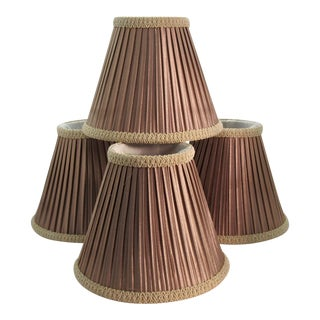 1980s Custom Pleated Silk Chandelier Shades - Set of 4 For Sale