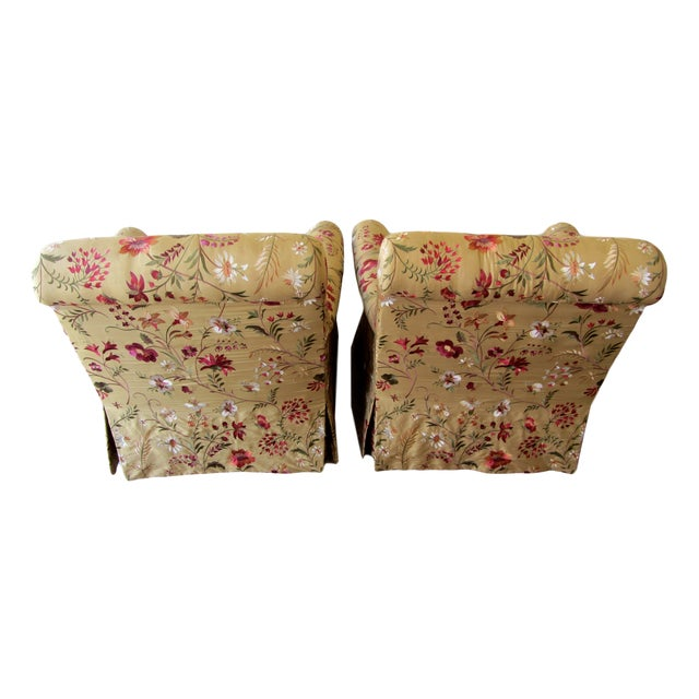 Silk Embroidered March Rocker Swivel Glider Chairs - a Pair - Image 4 of 8