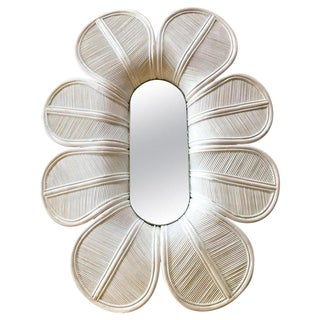 Giant Flower Bamboo Wall Mirror, Italy 1960s For Sale