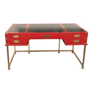Vintage Campaign Style Writing Table/Desk Lacquered in Red For Sale