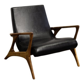 Pair of Mid Century Style Teak and Leather Club Chair, Great Scale for Comfort Priced Per Chair, Four Available. For Sale