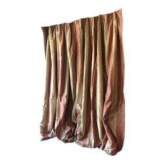 Rose and Cream Pastel Custom Made Silk Drapes - a Pair For Sale