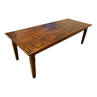 European 8' Foot Solid Wood Farmhouse Table For Sale