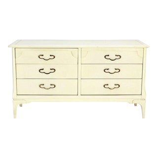 1960s Mid-Century Modern White Lacquer Dresser With Ornate Drawer Pulls For Sale