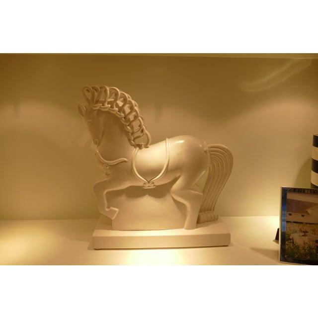 Eggshell White Ceramic Horse Figurine For Sale - Image 8 of 9