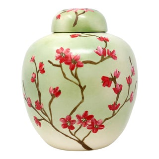 Vintage Celadon Asian Jar With Cherry Blossoms