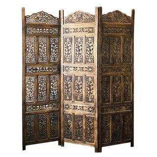 1960s Vintage Carved Wooden Screen 3 Panel Room Divider For Sale