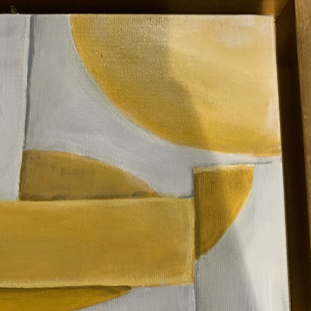 Yellow Custom Modern Abstract Yellow and White Painting from Houston Artist For Sale - Image 8 of 9