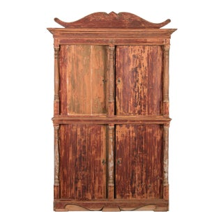 19th Century Antique Danish Pine Bow Front Four-Door Armoire For Sale