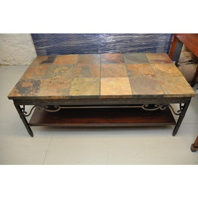 Natural Slate Tile Coffee Table - Image 2 of 4