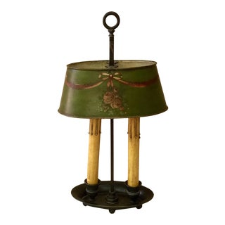 French Brass 19th Century Bouillote Lamp with Green Tole Painted Shade For Sale