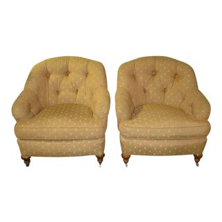 1980s Vintage Lee Industries Edwardian Style Barrel Back Chairs - A Pair For Sale