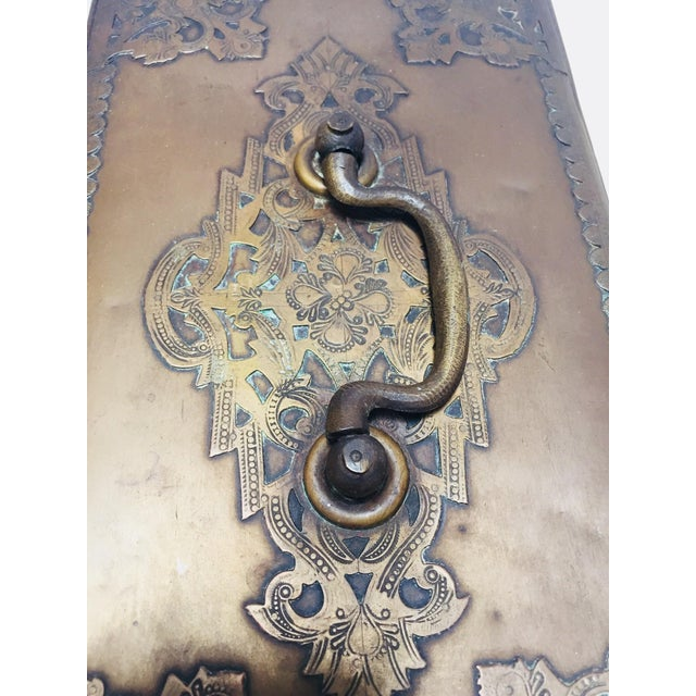 Anglo-Indian Antique Anglo Indian Georgian Brass Desk Box For Sale - Image 3 of 12