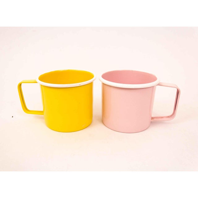 Pink Mid-Century Pastel Enamel Mugs - a Pair For Sale - Image 8 of 8
