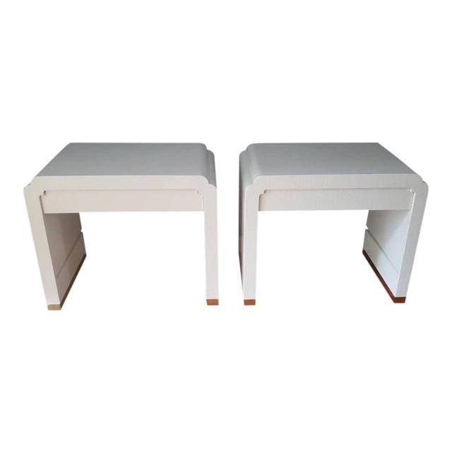Linen Wrapped Nightstands by Ron Seff-a Pair For Sale
