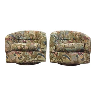 Pair Abstract Pattern Swivel Chairs