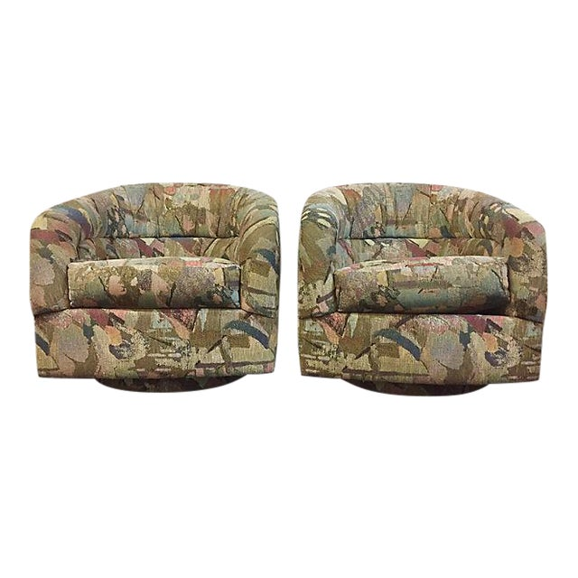 Pair Abstract Pattern Swivel Chairs - Image 1 of 6