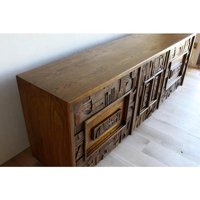 1960s Mid-Century Lane Sculptural Brutalist Paul Evans Style Dresser Chest Credenza For Sale - Image 5 of 11