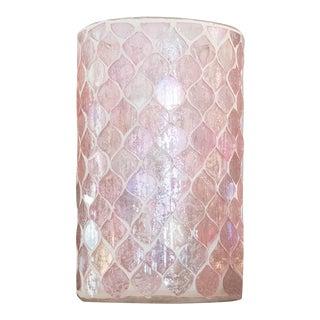 Anaya Iridescent Pink Mosaic Glass Candle Votive + Vase, Medium For Sale
