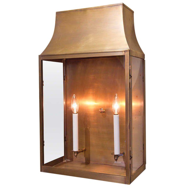 """Custom """"Guadalupe"""" Indoor/Outdoor Brass Wall Lantern For Sale"""