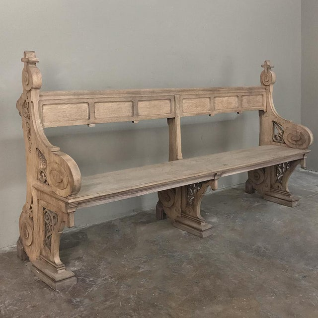 Country 19th Century Gothic Stripped Oak Church Pew For Sale - Image 3 of 13