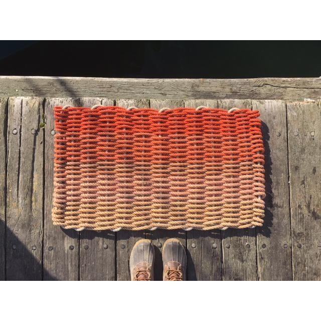 "Recycled Lobster Rope Doormat - ""Hey Ombre Orange"" - Image 4 of 4"