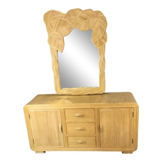 1970s Asian Scultura Reed Credenza With Mirror For Sale