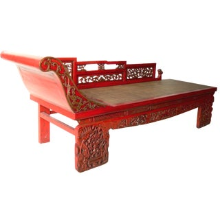 Antique Red Lacquer Daybed For Sale