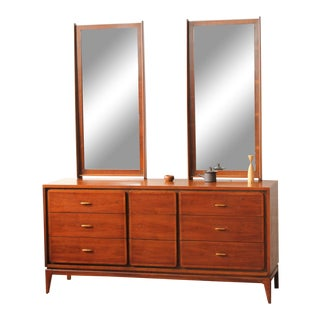 """1960s Mid-Century Modern Kent Coffey """"Simplex"""" Triple Dresser With Dual Mirrors For Sale"""