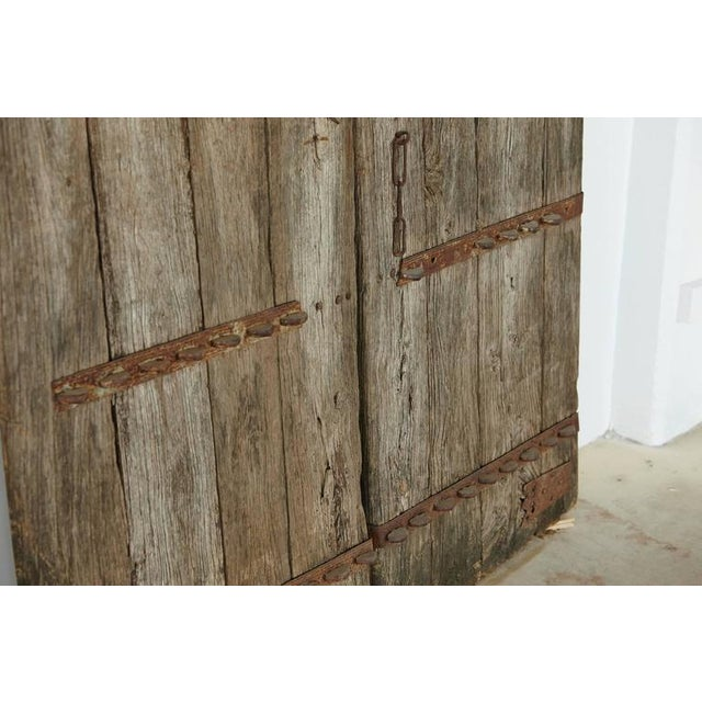 Pair of Antique Chinese Oak Gate Doors For Sale - Image 10 of 10