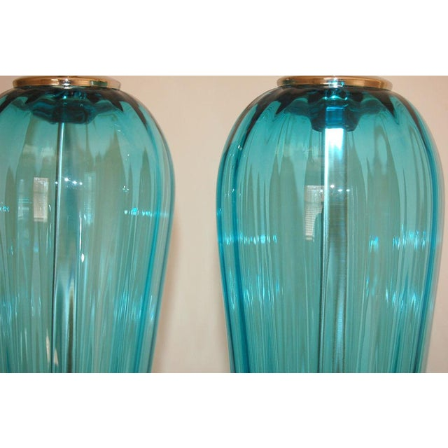 Blown Glass Joe Cariati Glass Table Lamps Blue For Sale - Image 7 of 8