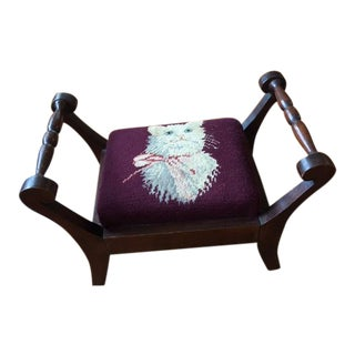 Antique Needlepoint Footstool Cat For Sale