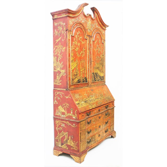 Georgian-Style Red Chinoiserie Secretary - Image 3 of 9