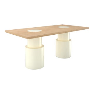 Contemporary 102 Dining Table in Oak and White by Orphan Work, 2019 For Sale