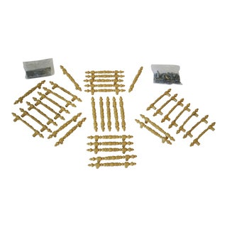 Mid Century Brass Spindle Design Cabinet & Drawer Handle Pulls - Set of 36 For Sale