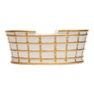 1970s Mottahedeh Gilt Porcelain Italian Basket Planter For Sale