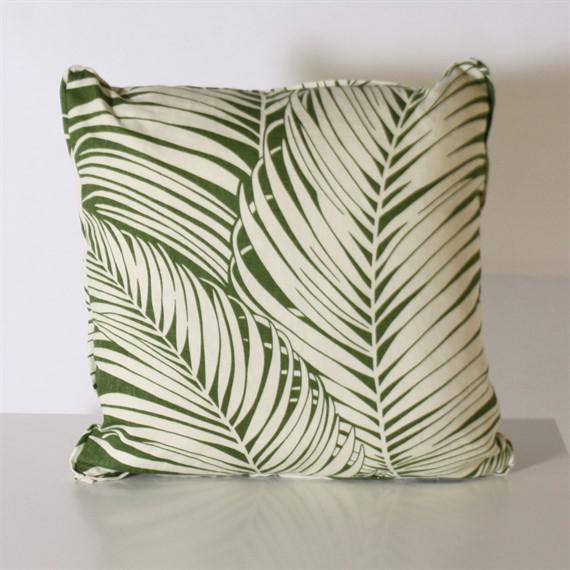 Pair of Kravet Bacularia palm print pillows. Made in Dallas for Jan Showers and Associates.