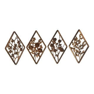 Syroco Season Motif Gold Wall Art Pieces - Set of 4 For Sale