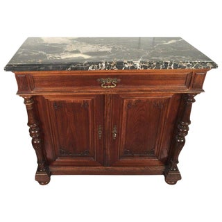 20th Century Traditional Walnut Carved Marble-Top Cabinet For Sale