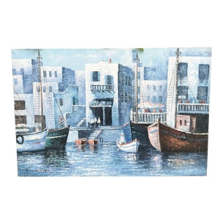 Contemporary Harbour Scene Painting For Sale
