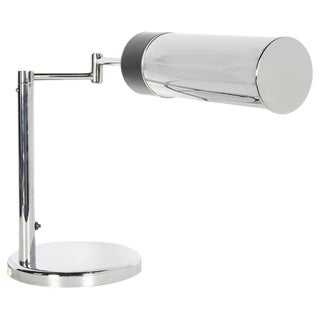 Mid-Century Modern Industrial Chrome Desk Lamp With Swing Arm by Nessen Studios, C. 1960s For Sale