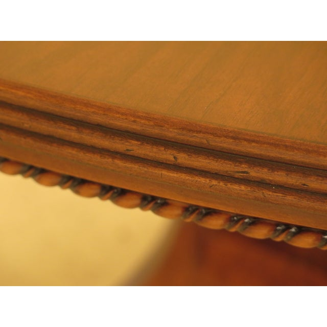 1990s Burl Walnut Round Dining Room Extension Table For Sale - Image 5 of 13