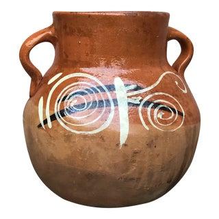 "Mid Century Vintage Terracotta Urn Jar - 9"" Tall For Sale"