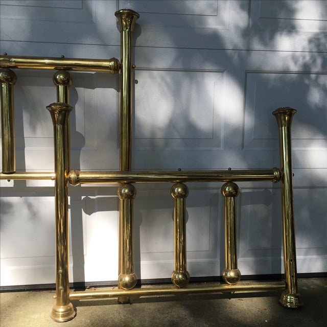 Vintage Twin Brass Headboard & Footboard For Sale - Image 4 of 10
