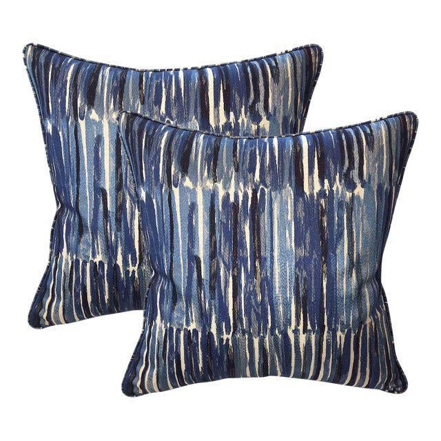 Boho Chic Donghia Down Feather Embroidered Designer Pillows With Chenille Velvet Backs - A Pair For Sale - Image 3 of 3