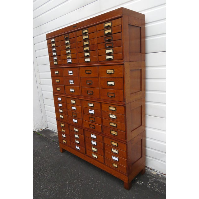 Early 1900s Oak Stacked File Cabinet Cupboard by p.a. Wetzler Co For Sale - Image 12 of 13