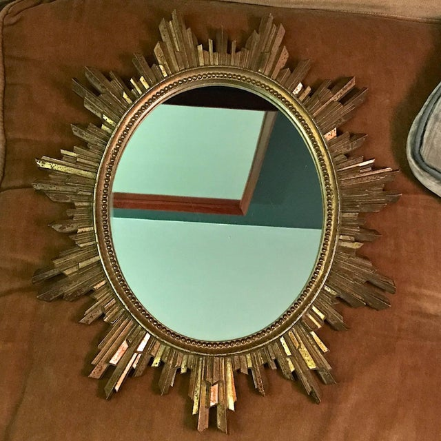 1960s Hollywood Regency Revival giltwood wall mirror. Petite in size, Good condition, scarce.